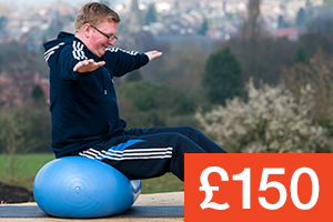 A client using exercise equipment