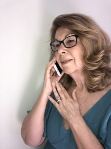 Picture of Catherine talking on the phone