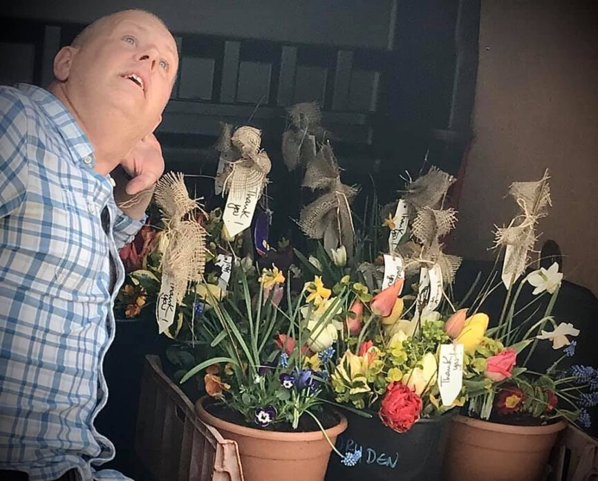 Wayne about to delivery flowers to Reach Care staff