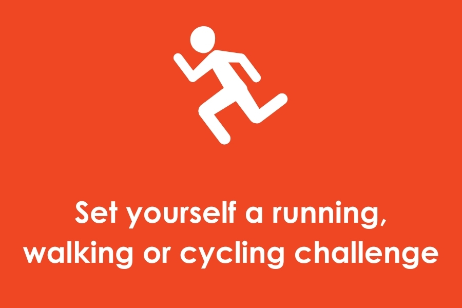 Button with icon of somebody running and the words set yourself a running, working or cycling challenge