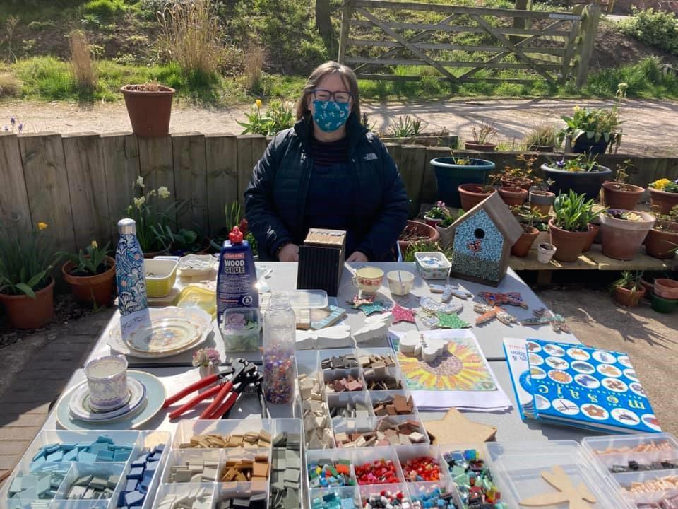 Nicky running a mosaic class at Flower Pod Southwell