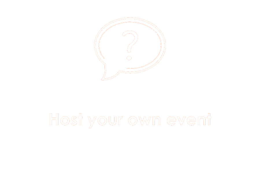 Icon showing question mark the words host your own event